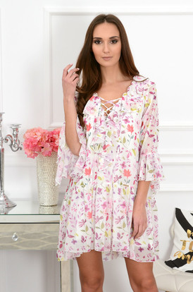 102cff38d310 Sukienka szyfonowa z falbanami Florida w kwiatki ...