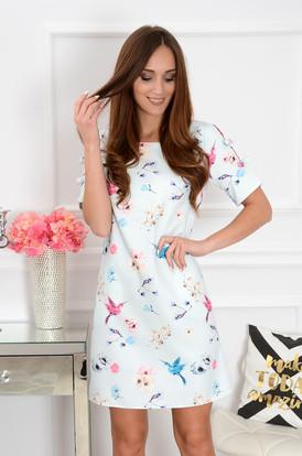3dc233733b Sukienka trapezowa z kokardkami w kwiaty i ptaki ...