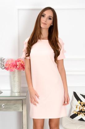 64223942d2 Sukienka trapezowa z kokardkami pudrowy róż ...