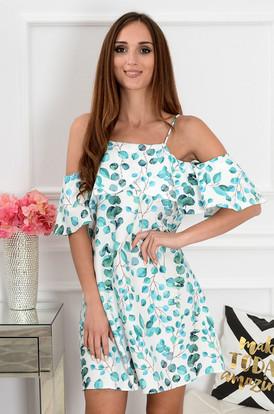 d94a2df167 Sukienka Nikola z falbaną w zielone liście ...