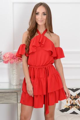 0b6a4b2267 Sukienka hiszpanka wiązana na szyi Iga czerwona ...