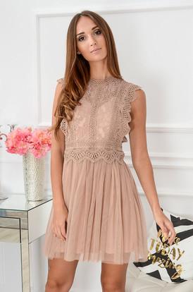 3d232f51df Sukienka z koronki i tiulu Passion brudny róż ...