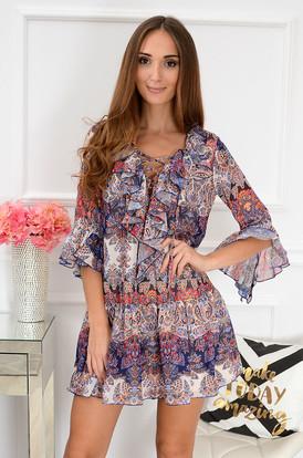 bc5728f869 Sukienka szyfonowa Florida boho wzory niebiesko-czerwona ...