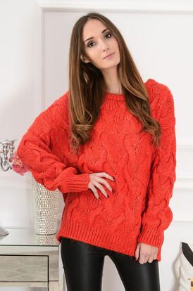 0367f9834ea7 Sweter oversize w warkocze Aspen czerwień orange ...