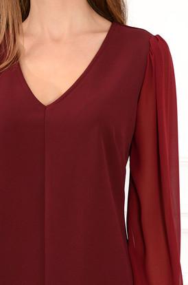 62c01e505a Sukienka z szyfonowymi rękawami Margot burgund Sukienka z szyfonowymi  rękawami Margot burgund