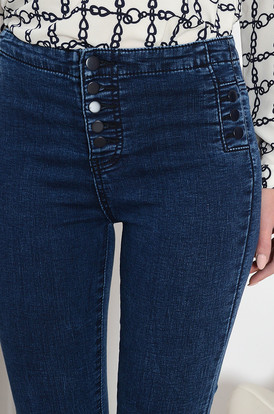 Spodnie jeansowe z ozdobnymi guzikami Spodnie jeansowe z ozdobnymi guzikami 2cb9ee727f