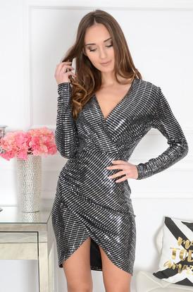 955f0cf0b9 Sukienka asymetryczna błyszcząca srebrna Flash ...