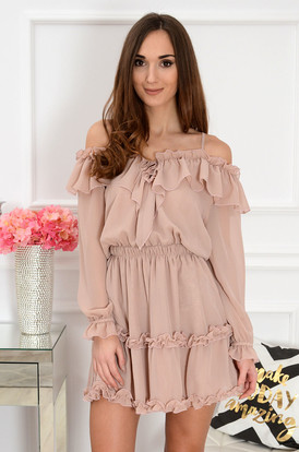 35cf03eb65 Sukienka hiszpanka szyfonowa brudny róż Marlen ...
