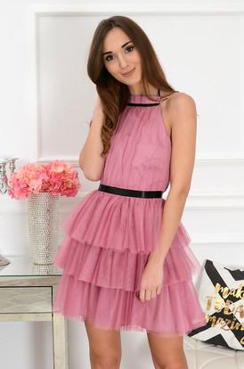 cb110cd98d04 Sukienka z tiulu i falban brudny róż Coctaile ...