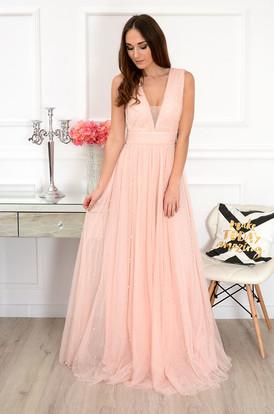 954687da5e8a Sukienka tiulowa maxi z perłami pudrowy róż Persea ...