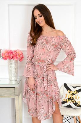 c2ecdd348c02 Sukienka hiszpanka midi w kwiaty brudny róż Abba ...