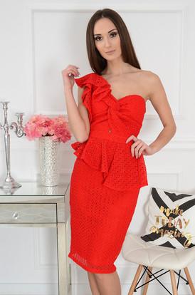 7b36c854cc Sukienka na jedno ramię ażurowa czerwona Grammy ...