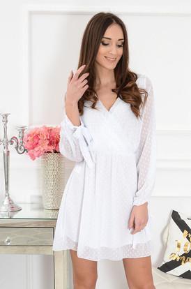 9676b98106 Sukienka szyfonowa w kropki biała Poppy ...