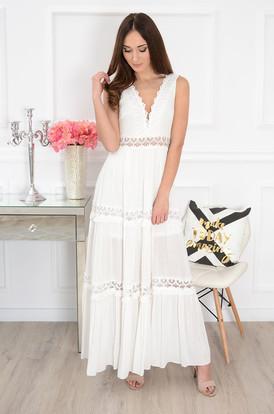 3e81ff57e0 Sukienka maxi z koronkowymi wstawkami kremowa Nadia ...