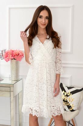 5b203844b5 Sukienka koronkowa kopertowy dekolt kremowa Rosa ...