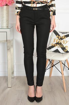 1fc849f1d36a Eleganckie spodnie z ozdobną blaszką czarne Freesia ...