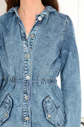 9acc2d6b908a7 Kurtka parka jeansowa z kapturem Tessuto Kurtka parka jeansowa z kapturem  Tessuto