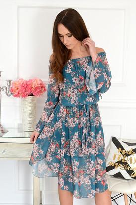 a039eb567af7 Sukienka hiszpanka midi w kwiaty turkusowa Abba ...
