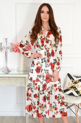 ddb3648f53 Sukienka midi szyfonowa w róże kremowa Peggy ...