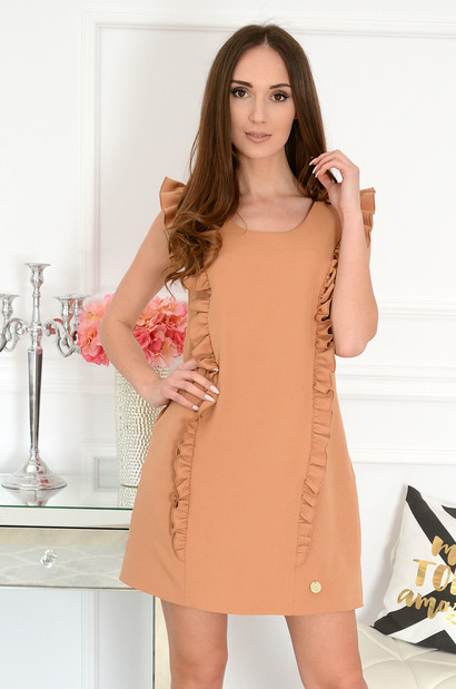 c0ab9e964e Elegancka sukienka trapezowa kamel Rita