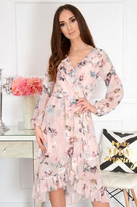 8e6783e656 Sukienka szyfonowa kopertowa w kwiaty pudrowa Marine ...