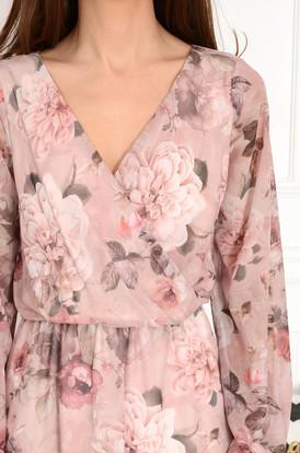 d6e0e4cb3e ... Sukienka szyfonowa midi w kwiaty brudny róż Agnese