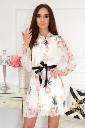 7b01567f91 Sukienka szyfonowa plisowan w kwiaty biała Aveline ...