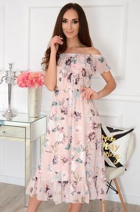 455d5778ea Sukienka midi hiszpanka z falbaną w kwiaty pudrowa Arizona ...