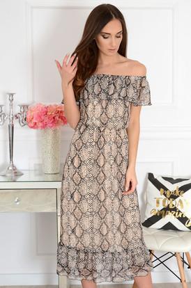 61944d2d7a Sukienka midi hiszpanka z falbaną wężowa Arizona ...