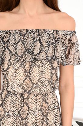 d86c685db7 Sukienka midi hiszpanka z falbaną wężowa Arizona Sukienka midi hiszpanka z  falbaną wężowa Arizona