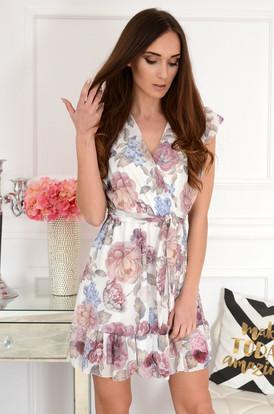 2777add942 Sukienka szyfonowa z falb w kwiaty kremowa Aline ...