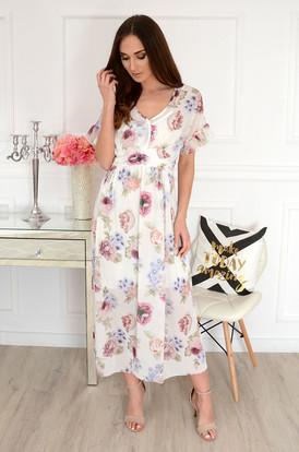 a056da8430 Sukienka maxi szyfonowa w kwiaty biała Altona ...
