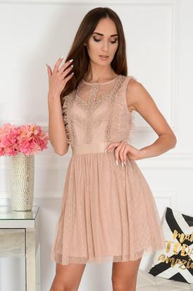 d0616435d4 Sukienka z koronki i tiulu brudny róż Diksi ...