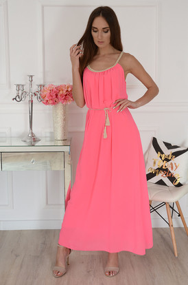 ac03202903 Sukienka maxi szyf boho pleciony dek neon róż Ciri ...