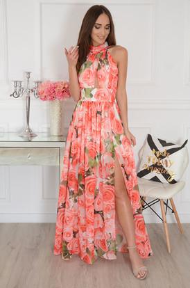def138789f Sukienka maxi szyfonowa w czerwone róże Artemida ...