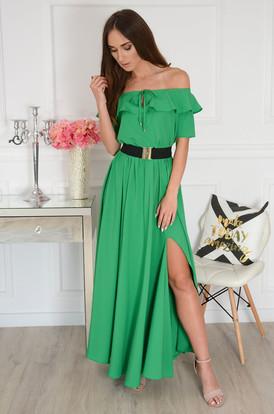 a04b8ca7b8 Sukienka maxi hiszpanka z falbaną i paskiem zielona Megra ...
