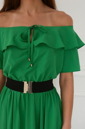 1d4d46329d ... Sukienka maxi hiszpanka z falbaną i paskiem zielona Megra
