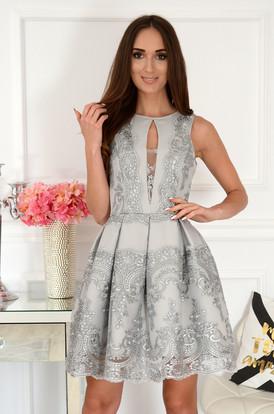 558505d722 Sukienka rozkloszowana z gipiurą szara Milagre ...