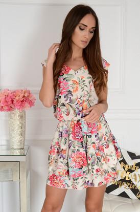 a3376a00a9 Sukienka z falban w kolorowe kwiaty beż Asteria ...