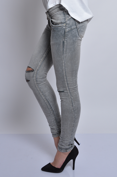 f474d87c Spodnie jeans szare z pęknięciami