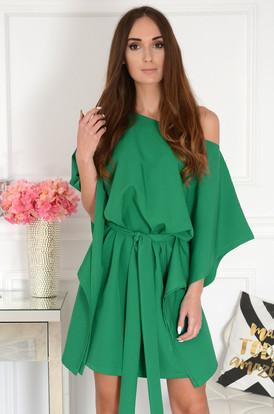 f09fb0707e Sukienka oversize z paskiem szmaragdowa Flavia ...
