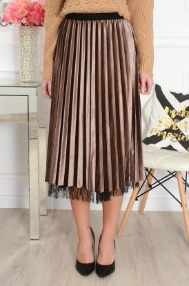 Spódnica welurowa plisowana midi szara Cocomoda.pl odzież