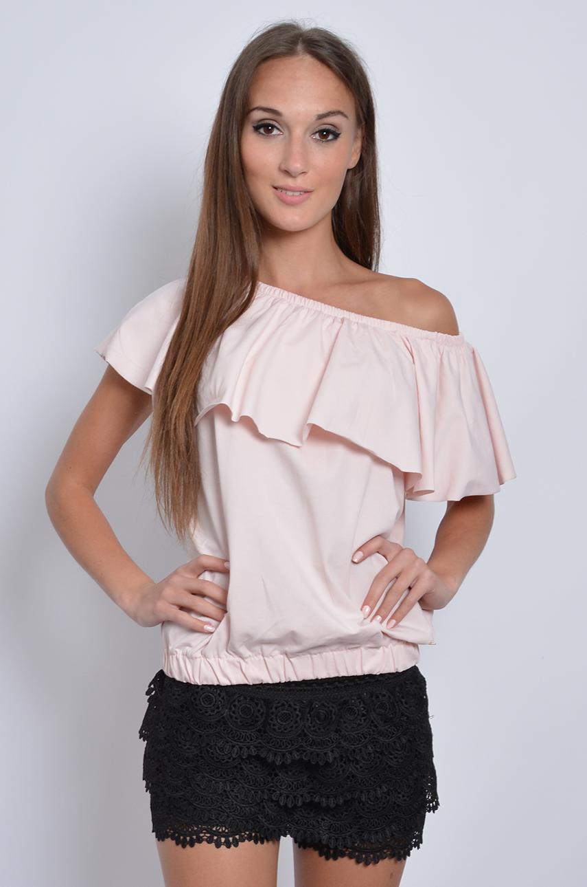16f8521f17b2 Bluzka hiszpanka dzianina pudrowy róż - Cocomoda.pl - odzież ...