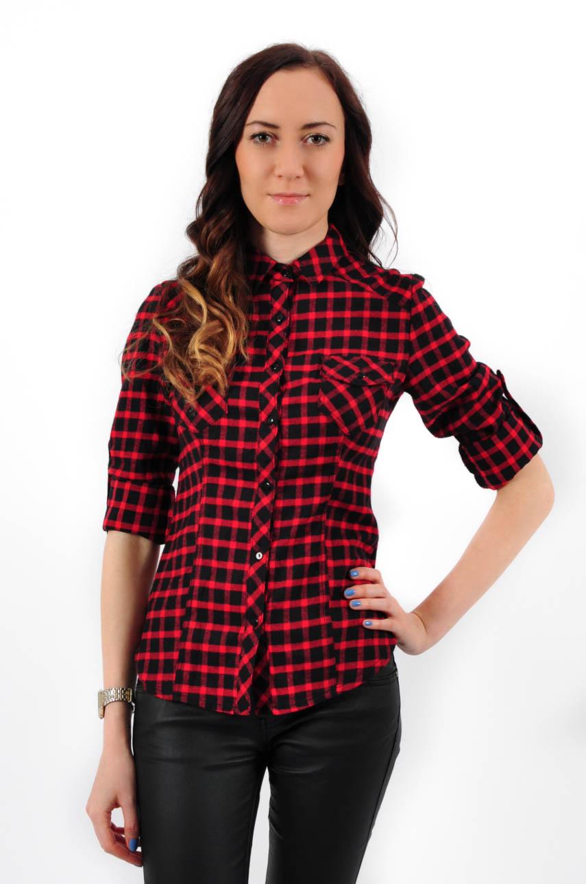 a258fd0522940c Koszula z kieszonkami w czerwoną kratę - Cocomoda.pl - odzie...