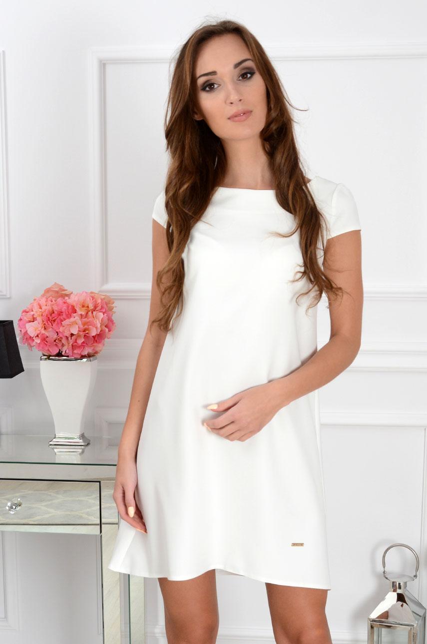 Sukienka z łezką dłuższy tył kremowa Rozmiar: S
