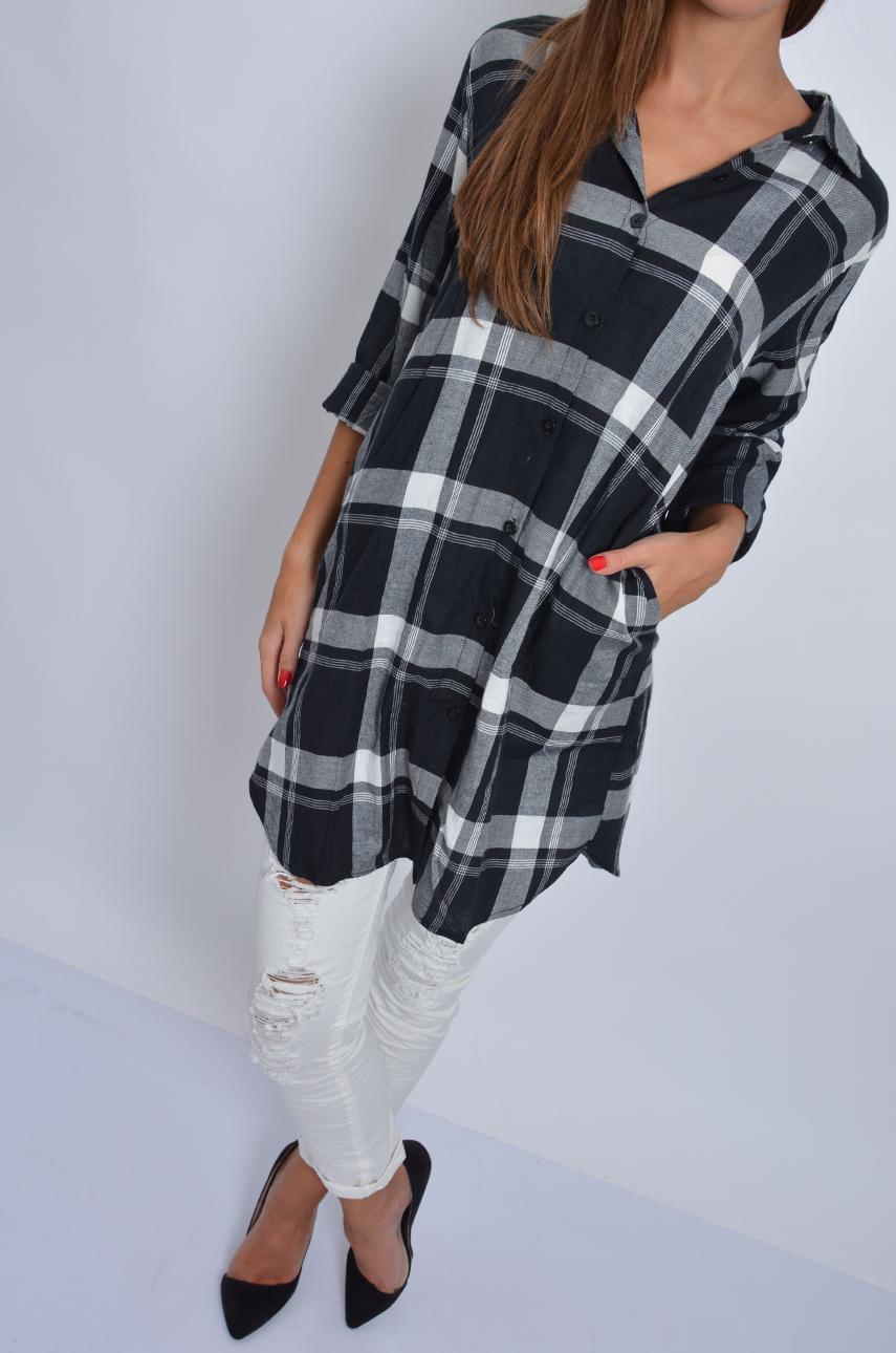 Długa koszula tunika w czarno białą kratę Cocomoda.pl odz  TYfS7