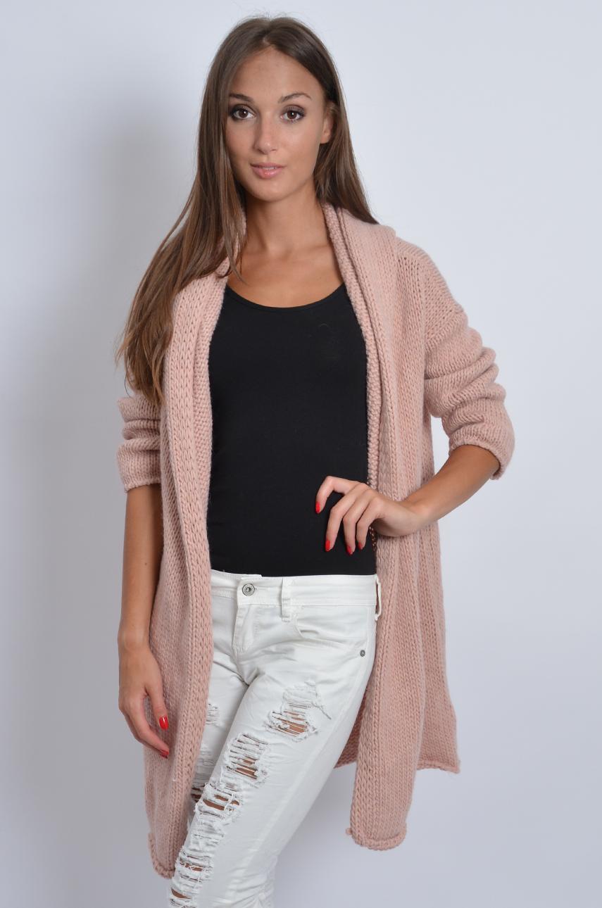 Inteligentny Gruby sweter kardigan z kapturem pudrowy róż - Cocomoda.pl - TF31