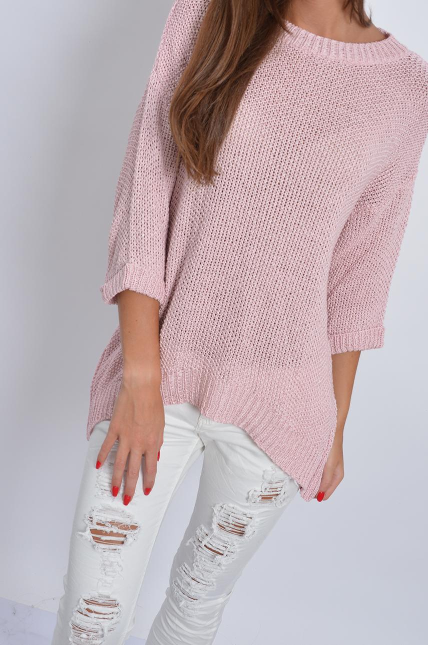 Dodatkowe Sweterek asymetryczny ażurowy pudrowy róż - Cocomoda.pl - odz... CT12