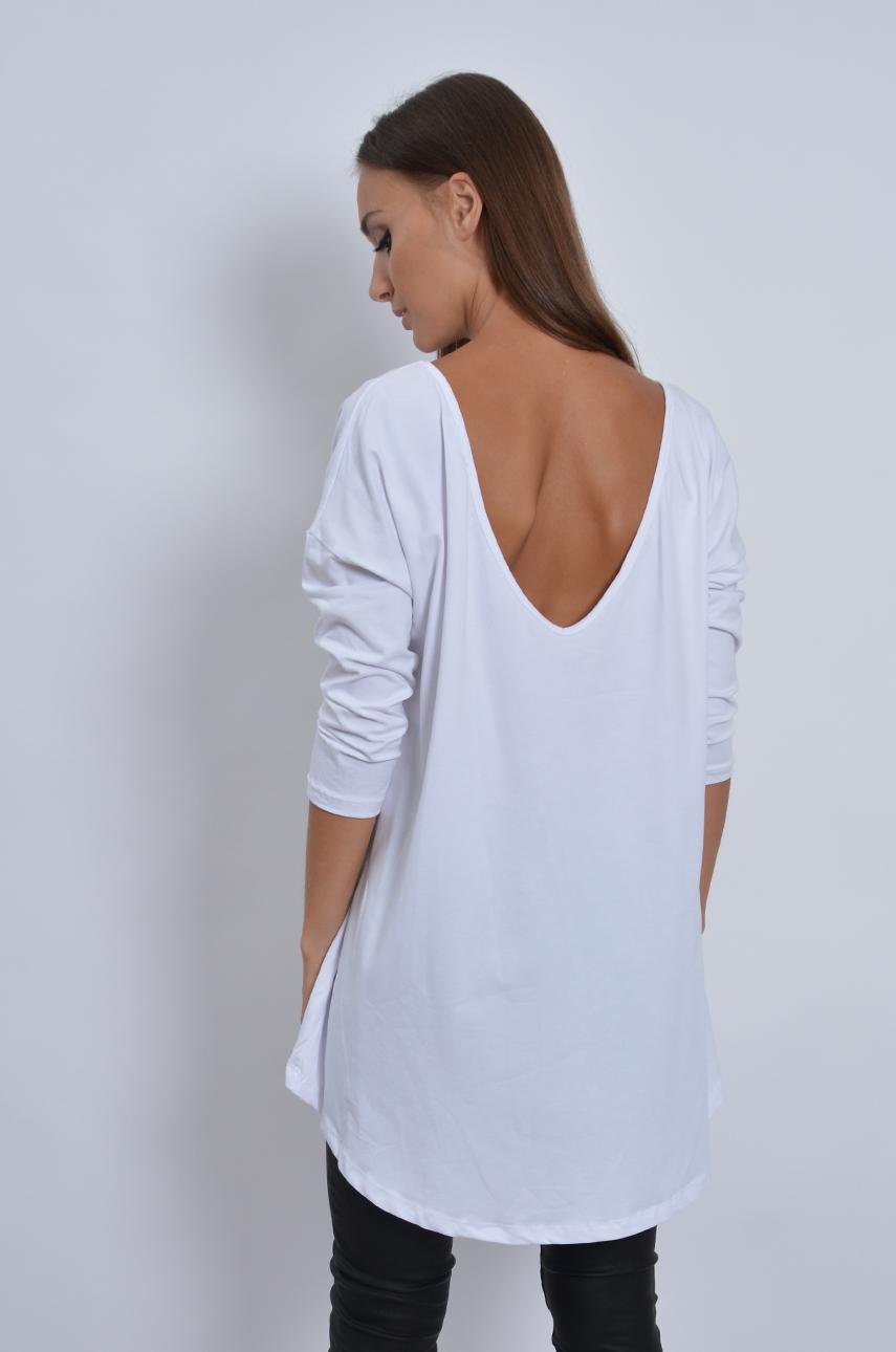 a4657cc3d0f492 Bluzka tunika dekolt na plecach biała - Cocomoda.pl - odzież ...