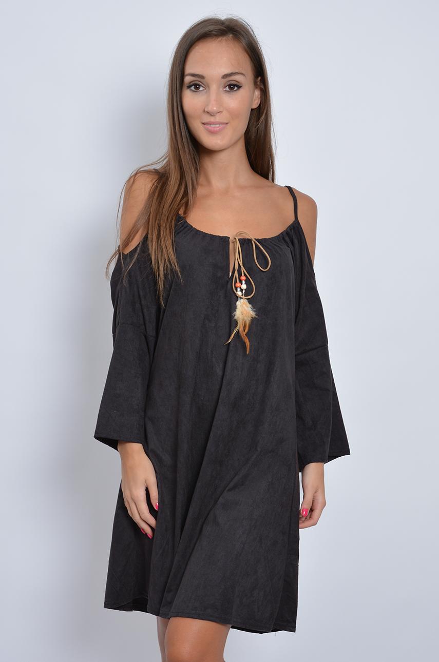 Sukienka w stylu boho z zamszu czarna
